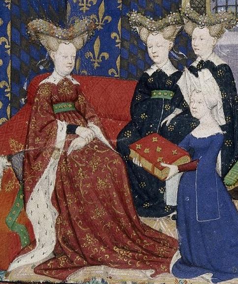 Christine de Pizan offre una copia dei suoi lavori alla regina Isabella di Baviera, moglie del re Carlo VI